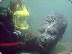 Diver with statue head